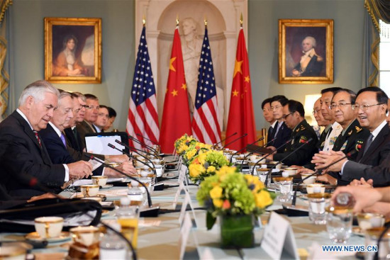 Chinese State Councilor Yang Jiechi (1st R) co-chairs a diplomatic and security dialogue with U.S. Secretary of State Rex Tillerson (1st L) and Secretary of Defense James Mattis (2nd L) as Fang Fenghui (2nd R), a member of China's Central Military Commission (CMC) and chief of the CMC Joint Staff Department, also participates in the dialogue in Washington D.C., the United States, on June 21, 2017. (Xinhua/Yin bogu)